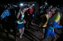 Runner take off from the starting line early Friday, April 8, 2016 during the Zion 100 ultra marathon trail race. Runners competing in the 100K and 100 mile distances left the starting line Friday morning while runners competing in 55K and half-marathon distances will start Saturday morning. Despite a high probability of rain over the weekend, nearly 300 runners took of from the starting line Friday morning and more than another 200 were expected to run Saturday.