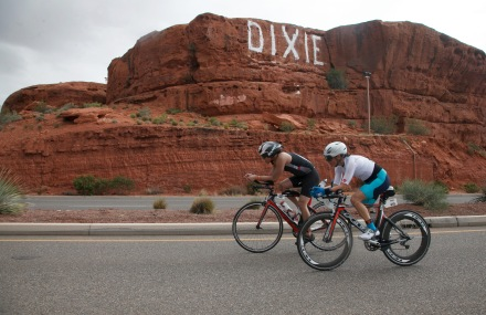 Ironman 70.3 St. George participants ride their bikes past the Sugarloaf in St. George Saturday, May 7, 2016.